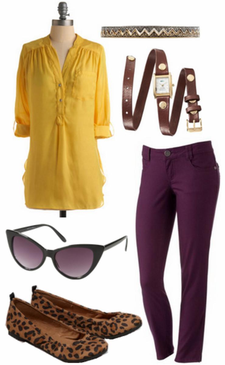 purple-royal-skinny-jeans-yellow-top-blouse-belt-sun-tan-shoe-flats-leopard-howtowear-fashion-style-outfit-fall-winter-lunch.jpg