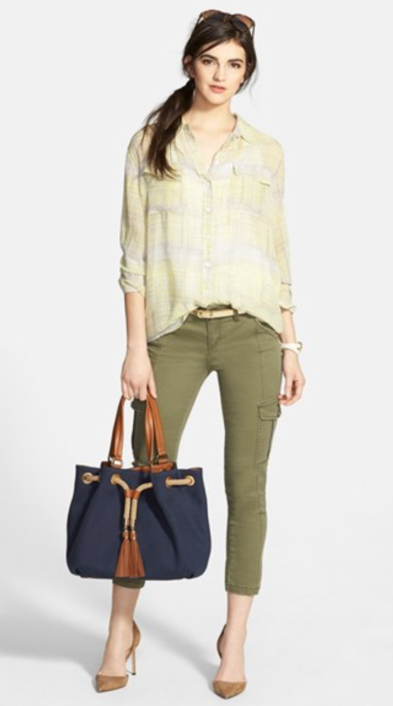 green-olive-skinny-jeans-yellow-top-blouse-tan-shoe-pumps-blue-bag-pony-belt-howtowear-style-fashion-spring-summer-brun-lunch.jpg