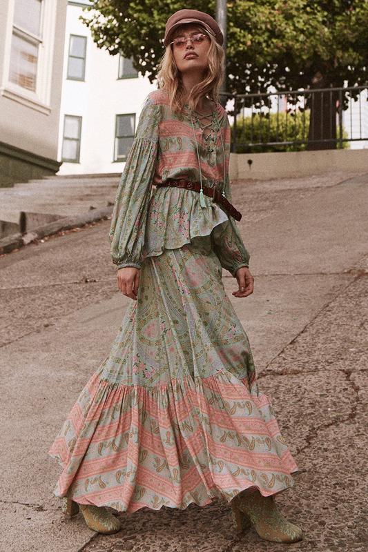 green-light-top-blouse-peasant-print-belt-hat-sun-blonde-tan-shoe-boots-boho-green-light-maxi-skirt-fall-winter-lunch.jpg