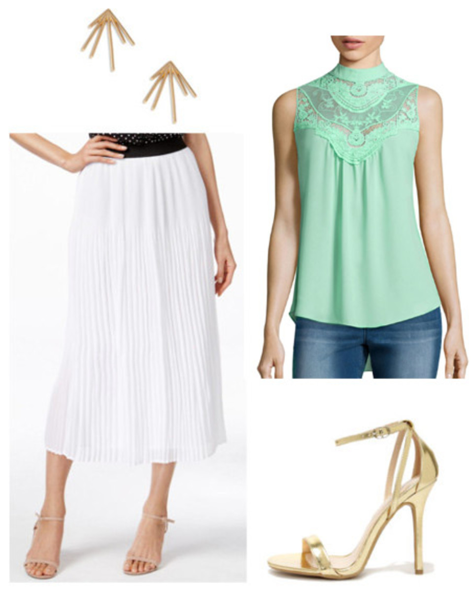white-midi-skirt-green-light-top-blouse-lace-studs-tan-shoe-sandalh-metallic-pleat-howtowear-fashion-style-outfit-spring-summer-dinner.jpg