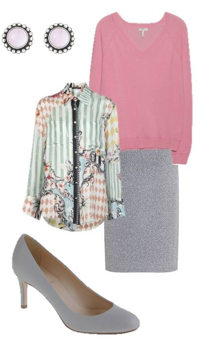 grayl-pencil-skirt-green-light-top-blouse-print-pink-light-sweater-studs-gray-shoe-pumps-howtowear-fashion-style-outfit-spring-summer-work.jpg