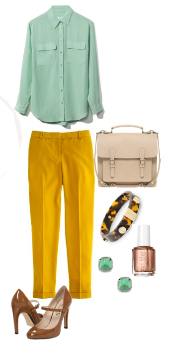 yellow-slim-pants-green-light-top-blouse-studs-cognac-shoe-pumps-white-bag-nail-bracelet-mint-howtowear-fashion-style-outfit-spring-summer-work.jpg