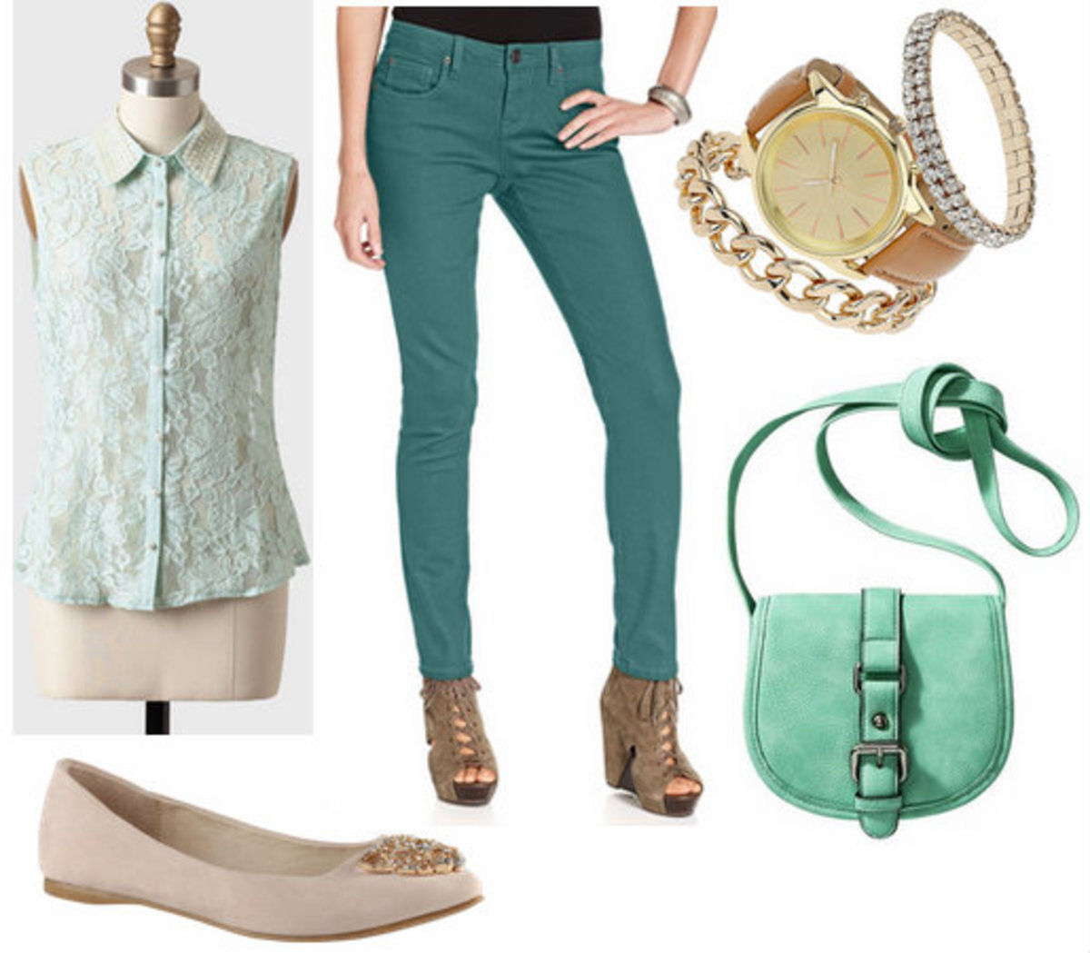 green-emerald-skinny-jeans-green-light-top-blouse-lace-tan-shoe-flats-green-bag-watch-howtowear-fashion-style-outfit-spring-summer-lunch.jpg