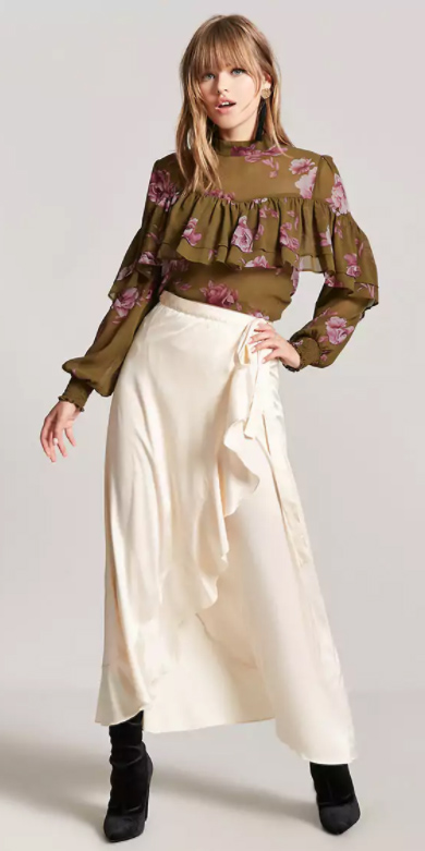 green-olive-top-blouse-ruffle-floral-print-blonde-black-shoe-boots-white-maxi-skirt-fall-winter-lunch.jpg