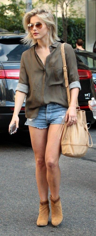 blue-light-shorts-green-olive-top-tan-bag-tan-shoe-booties-sun-juliannehough-blonde-spring-summer-weekend.jpg