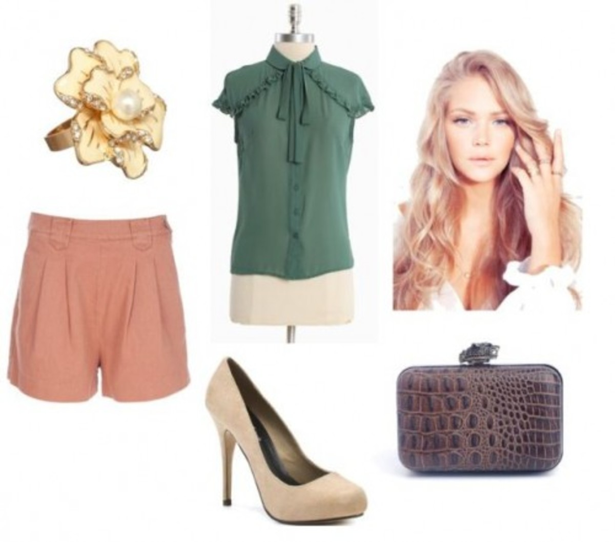 o-peach-shorts-green-olive-top-blouse-ring-paperbag-tan-shoe-pumps-brown-bag-clutch-howtowear-fashion-style-outfit-spring-summer-lunch.jpg