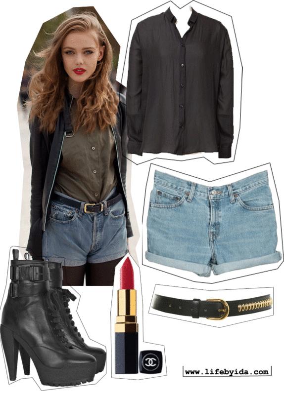 blue-light-shorts-green-olive-top-blouse-black-jacket-belt-black-tights-black-shoe-booties-howtowear-fashion-style-outfit-fall-winter-hairr-denim-dinner.jpg