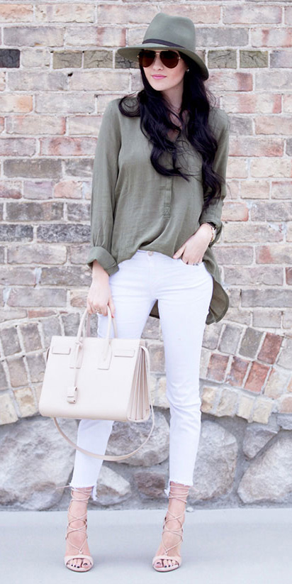 white-skinny-jeans-green-olive-top-blouse-tan-bag-sun-hat-tan-shoe-sandalh-howtowear-fashion-style-outfit-spring-summer-brun-lunch.jpg