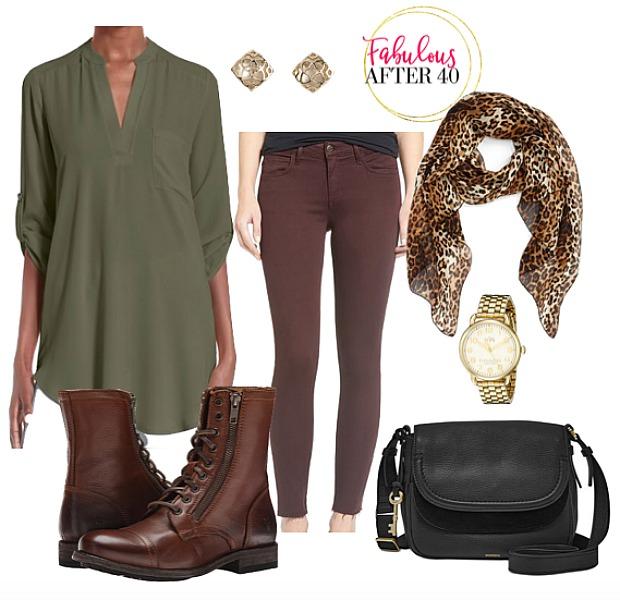 brown-skinny-jeans-green-olive-top-blouse-brown-scarf-leopard-print-watch-studs-black-bag-brown-shoe-booties-fall-winter-weekend.jpg