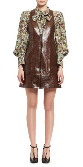 brown-dress-jumper-green-olive-top-blouse-print-leather-fall-winter-dinner.jpg