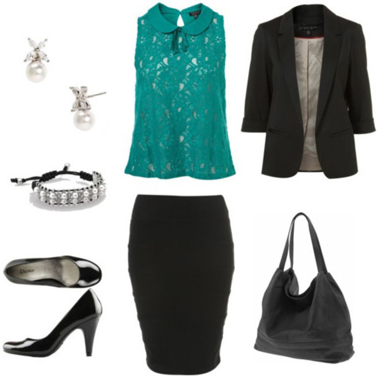 black-pencil-skirt-green-emerald-top-lace-black-jacket-blazer-black-shoe-pumps-black-bag-studs-bracelet-teal-howtowear-fashion-style-outfit-spring-summer-work.jpg