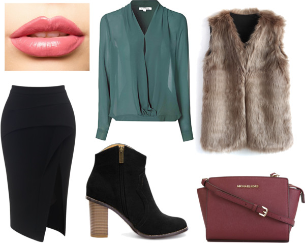 black-pencil-skirt-green-emerald-top-blouse-burgundy-bag-tan-vest-fur-howtowear-fashion-style-outfit-fall-winter-black-shoe-booties-office-work.jpg