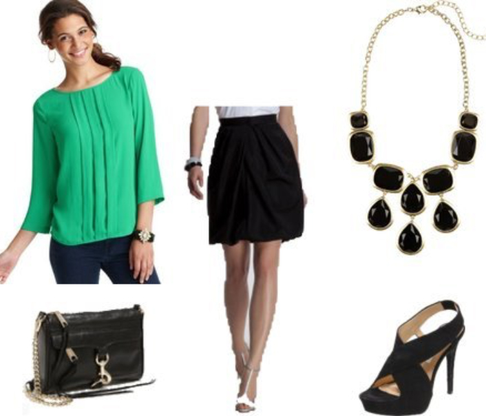 black-mini-skirt-green-emerald-top-blouse-black-bag-black-shoe-sandalh-howtowear-fashion-style-outfit-fall-winter-bib-necklace-dinner-brun-work.jpg