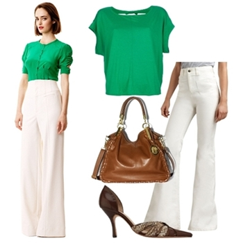 white-wideleg-pants-green-emerald-top-brown-bag-howtowear-fashion-style-outfit-spring-summer-silk-brown-shoe-pumps-work.jpg
