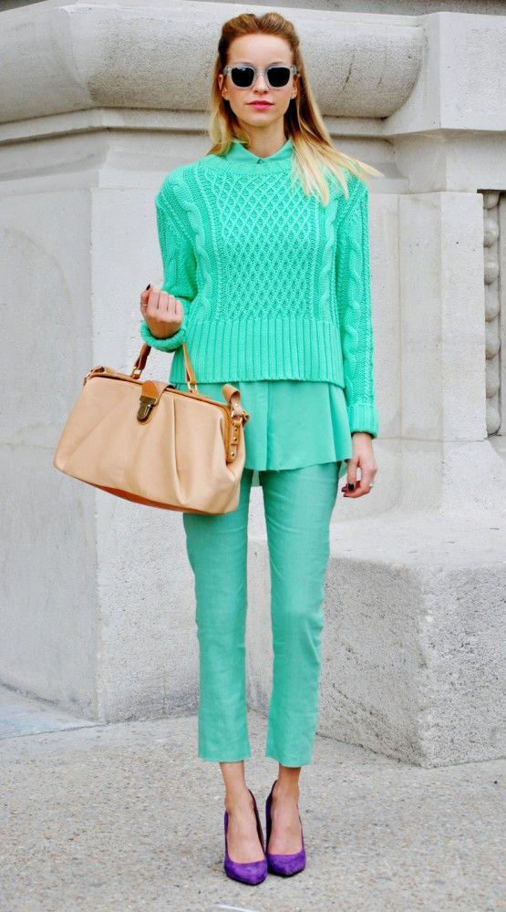 green-emerald-slim-pants-green-emerald-top-blouse-green-emerald-sweater-tan-bag-purple-shoe-pumps-sun-howtowear-fashion-style-outfit-spring-summer-blonde-lunch.jpg