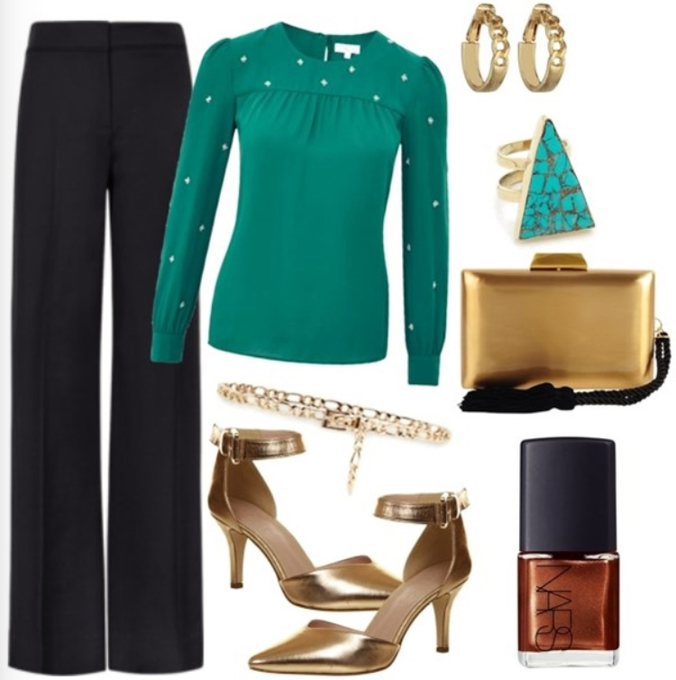black-wideleg-pants-green-emerald-top-blouse-studs-ring-turquoise-tan-bag-tan-shoe-pumps-nail-howtowear-style-fashion-fall-winter-belt-work.jpg