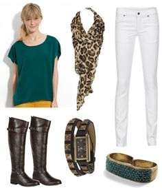 white-skinny-jeans-green-emerald-top-tan-scarf-brown-shoe-boots-watch-ring-howtowear-fashion-style-outfit-blonde-fall-winter-weekend.jpg