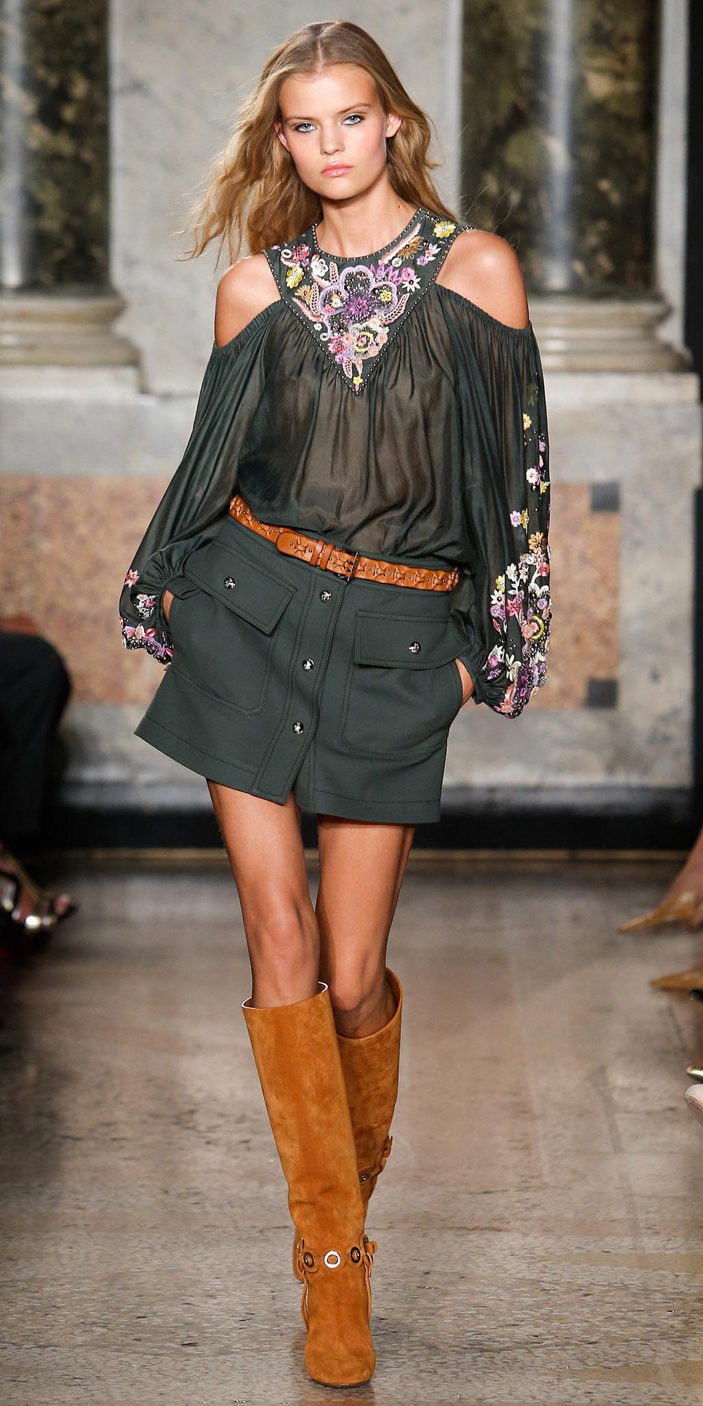green-dark-mini-skirt-green-dark-top-blouse-peasant-belt-blonde-camel-shoe-boots-spring-summer-lunch.jpg