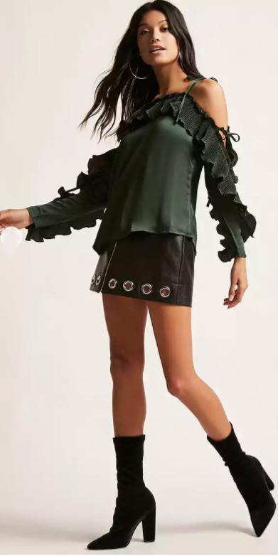 black-mini-skirt-hoops-brun-black-shoe-booties-green-dark-top-offshoulder-fall-winter-dinner.jpg