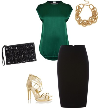 black-pencil-skirt-green-dark-top-blouse-bracelet-tan-shoe-sandalh-black-bag-clutch-date-night-howtowear-fashion-spring-summer-style-outfit-dinner.jpg