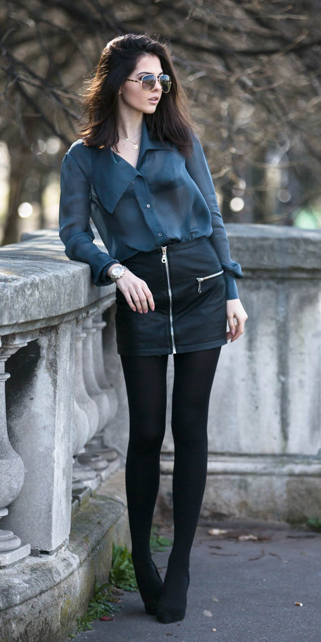 black-mini-skirt-black-tights-green-dark-top-blouse-sheer-black-bralette-sun-black-shoe-booties-fall-winter-brun-dinner.jpg