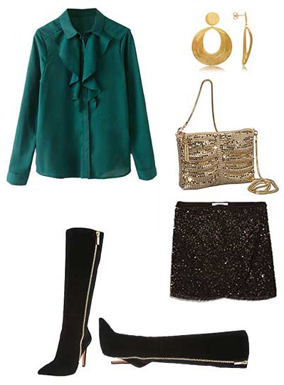 black-mini-skirt-green-dark-top-blouse-ruffle-tan-bag-sequin-earrings-black-shoe-boots-howtowear-fashion-style-outfit-fall-winter-dinner.jpg