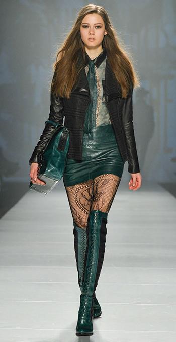 green-dark-mini-skirt-green-dark-top-blouse-sheer-black-jacket-moto-green-shoe-boots-green-bag-black-tights-howtowear-fashion-style-outfit-fall-winter-hairr-dinner.jpg
