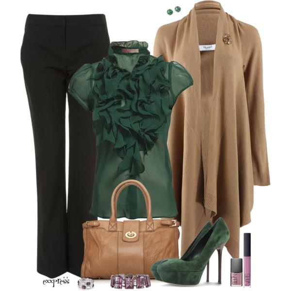 black-wideleg-pants-green-dark-top-blouse-ruffle-tan-cardiganl-studs-nail-green-shoe-pumps-tan-bag-bracelet-howtowear-fashion-style-outfit-fall-winter-work.jpg