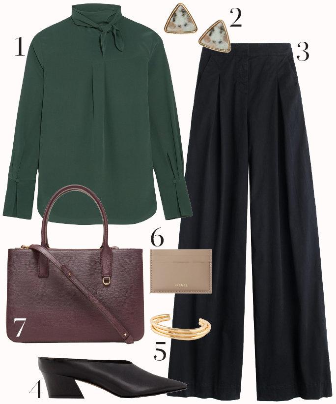 black-wideleg-pants-green-dark-top-blouse-studs-black-shoe-pumps-burgundy-bag-howtowear-style-fashion-outfit-bow-bracelet-office-fall-winter-work.jpg
