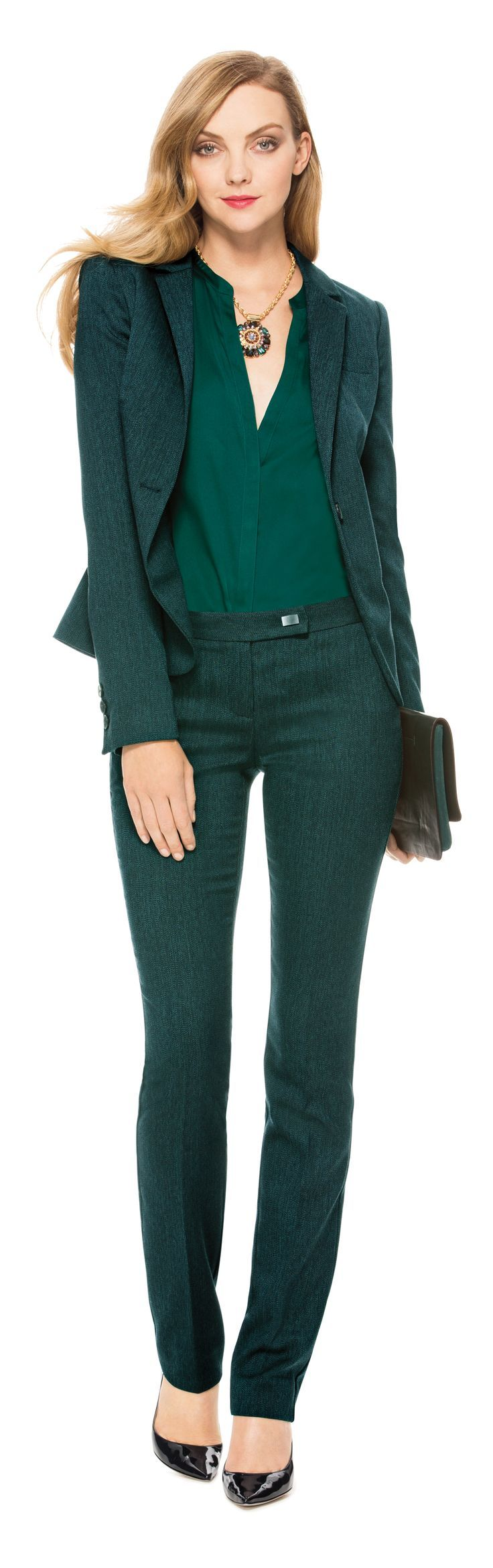 green-dark-slim-pants-green-dark-top-blouse-green-dark-jacket-blazer-howtowear-fashion-style-outfit-fall-winter-black-shoe-pumps-office-necklace-mono-blonde-work.jpg