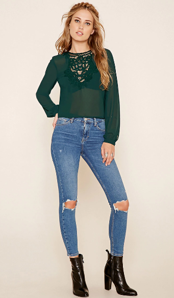 blue-med-skinny-jeans-green-dark-top-blouse-peasant-wear-outfit-fashion-fall-winter-black-shoe-booties-forever21-blonde-lunch.jpg