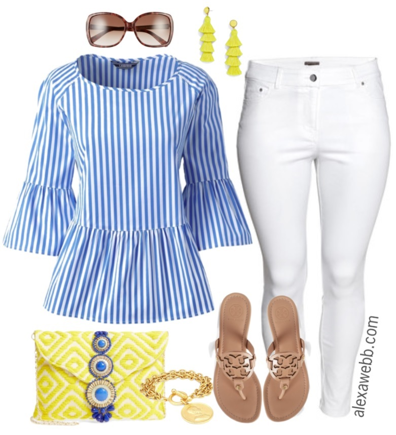 white-skinny-jeans-earrings-tan-shoe-sandals-blue-med-top-stripe-yellow-bag-clutch-sun-spring-summer-lunch.jpg