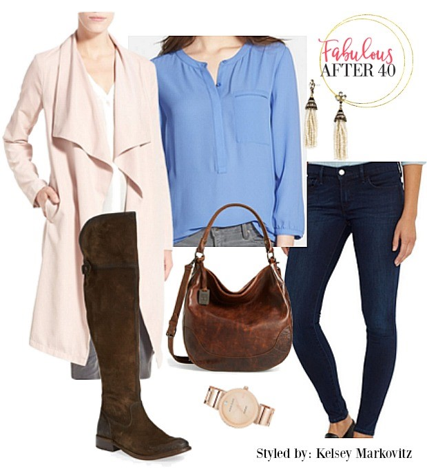 blue-navy-skinny-jeans-blue-med-top-blouse-earrings-watch-brown-bag-brown-shoe-boots-pink-light-jacket-coat-fall-winter-lunch.jpg