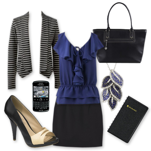 black-pencil-skirt-blue-navy-top-blouse-black-shoe-pumps-black-jacket-stripe-black-bag-tote-necklace-pend-howtowear-fashion-style-outfit-spring-summer-work.jpg