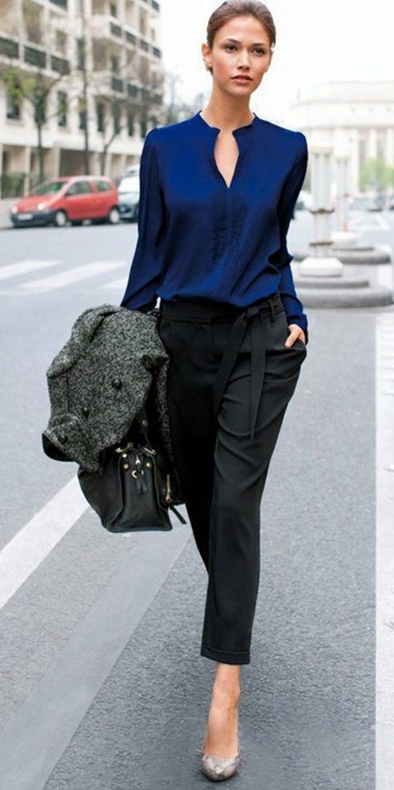 black-joggers-pants-blue-navy-top-blouse-grayd-jacket-coat-gray-shoe-pumps-bun-howtowear-fashion-style-outfit-fall-winter-brun-work.jpg