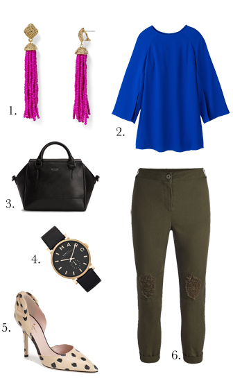 green-olive-joggers-pants-blue-navy-top-blouse-cobalt-earrings-black-bag-watch-tan-shoe-pumps-howtowear-fashion-style-outfit-fall-winter-dinner.jpg