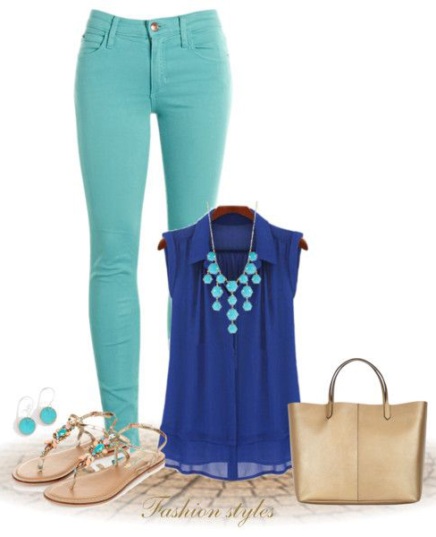 green-light-skinny-jeans-blue-navy-top-blouse-bib-necklace-cobalt-tan-shoe-sandals-tan-bag-tote-studs-howtowear-fashion-style-outfit-spring-summer-lunch.jpg