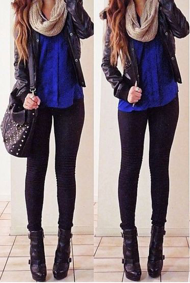 black-skinny-jeans-blue-navy-top-blouse-cobalt-tan-scarf-howtowear-fashion-style-outfit-fall-winter-black-shoe-booties-black-jacket-moto-black-bag-hairr-lunch.jpg