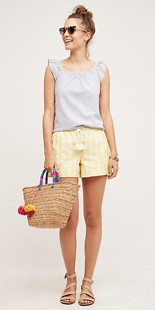 yellow-shorts-purple-light-top-howtowear-fashion-style-outfit-spring-summer-tan-shoe-sandals-tan-bag-sun-bun-hairr-weekend.jpg