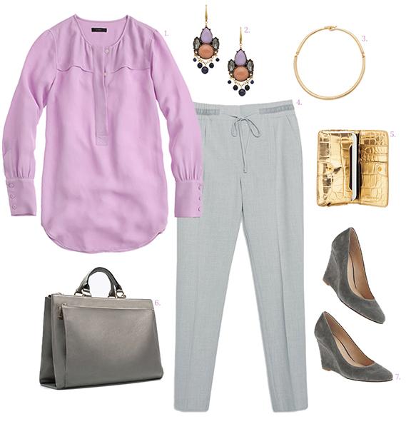 grayl-joggers-pants-purple-light-top-blouse-gray-bag-earrings-jewel-gray-shoe-pumps-wedges-spring-summer-necklace-work.jpg