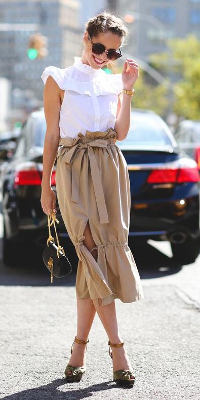 tan-midi-skirt-white-top-blouse-blonde-bun-sun-green-shoe-sandalh-spring-summer-dinner.jpg