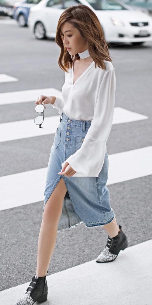 blue-light-pencil-skirt-slit-denim-jean-white-top-blouse-choker-fall-winter-black-shoe-booties-brun-lunch.jpg