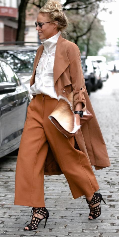 camel-culottes-pants-white-top-blouse-blonde-bun-cognac-bag-clutch-black-shoe-sandalh-camel-jacket-coat-trench-sun-fall-winter-lunch.jpg