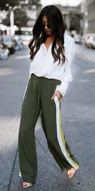 green-olive-wideleg-pants-track-white-top-blouse-brun-tan-shoe-sandalh-fall-winter-lunch.jpg