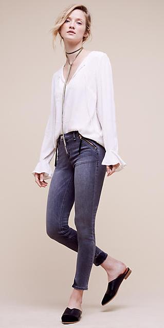 blue-navy-skinny-jeans-white-top-blouse-peasant-wear-outfit-fashion-fall-winter-bellsleeve-black-shoe-flats-choker-bun-blonde-lunch.jpg