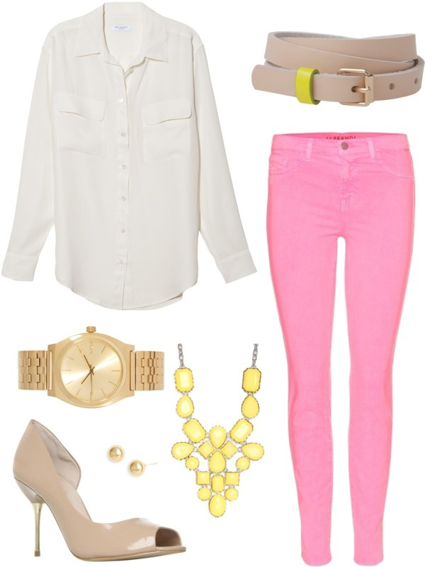 r-pink-magenta-skinny-jeans-white-top-blouse-bib-necklace-watch-tan-shoe-pumps-belt-studs-howtowear-fashion-style-outfit-spring-summer-lunch.jpg
