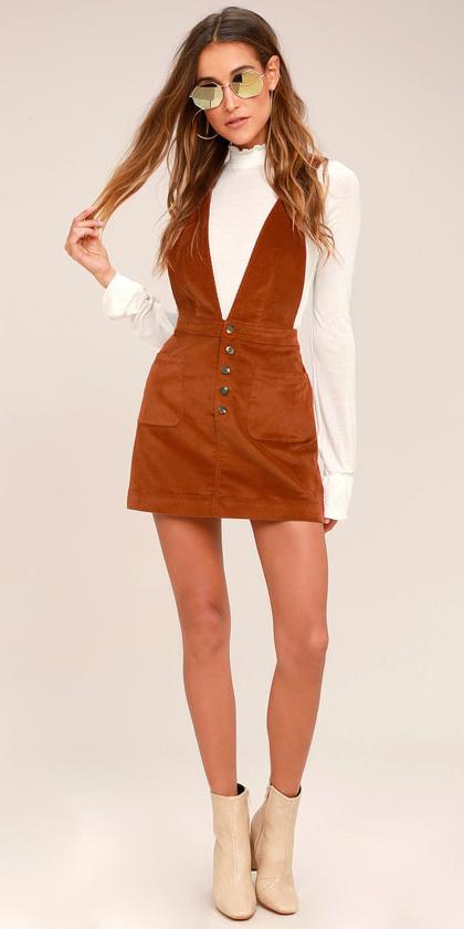 camel-dress-jumper-white-top-blouse-sun-hairr-white-shoe-booties-fall-winter-weekend.jpg