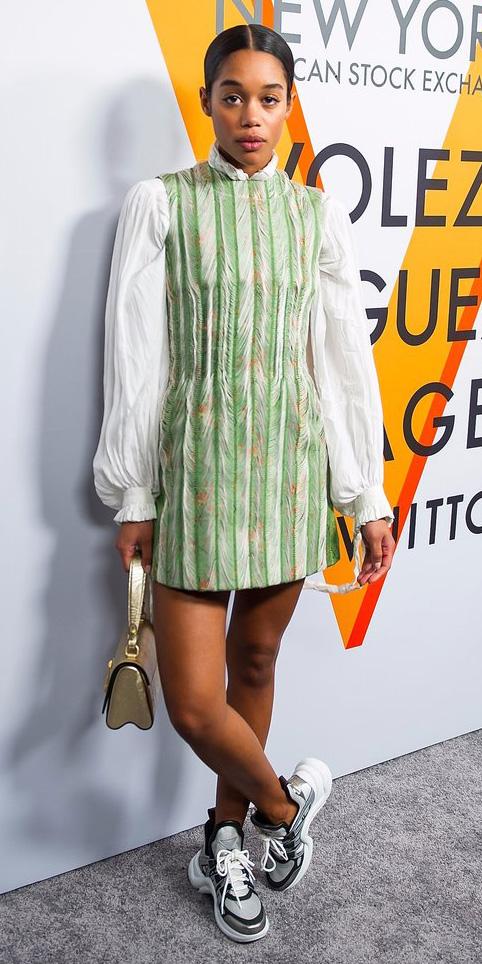 green-light-dress-mini-shift-layer-white-top-blouse-peasant-brun-bun-tan-bag-gold-gray-shoe-sneakers-fall-winter-dinner.jpg