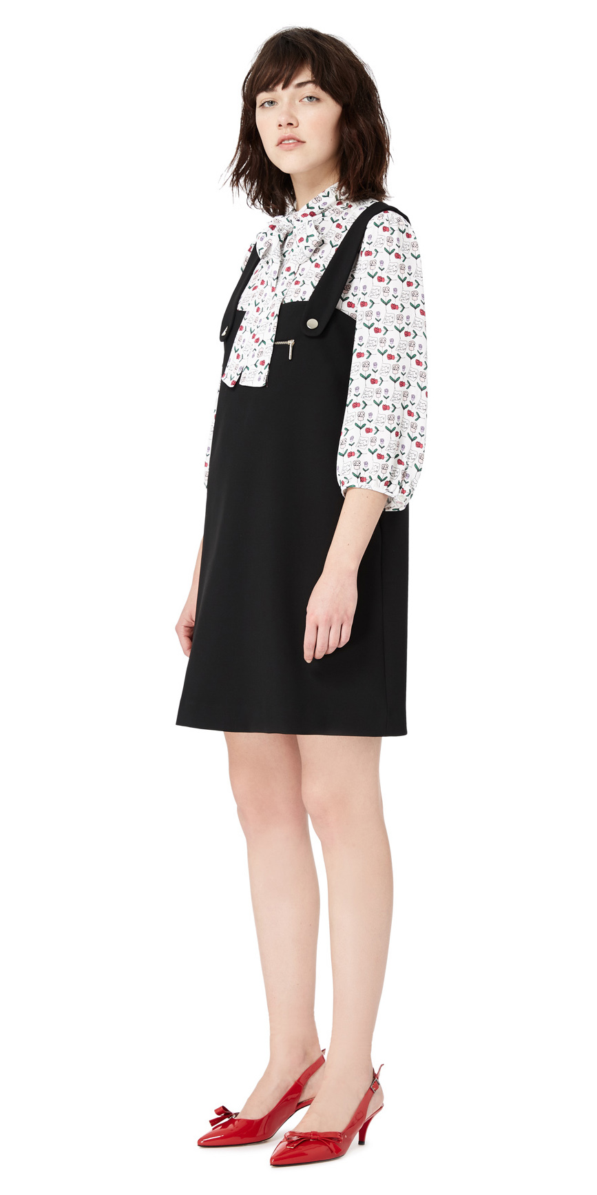 black-dress-jumper-red-shoe-pumps-slingbacks-print-white-top-blouse-brun-layer-fall-winter-lunch.jpg