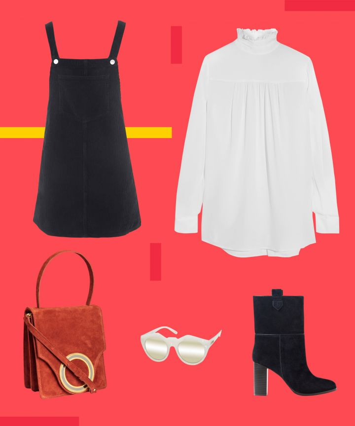 black-dress-jumper-white-top-blouse-peasant-sun-black-shoe-booties-red-bag-layer-fall-winter-lunch.jpg